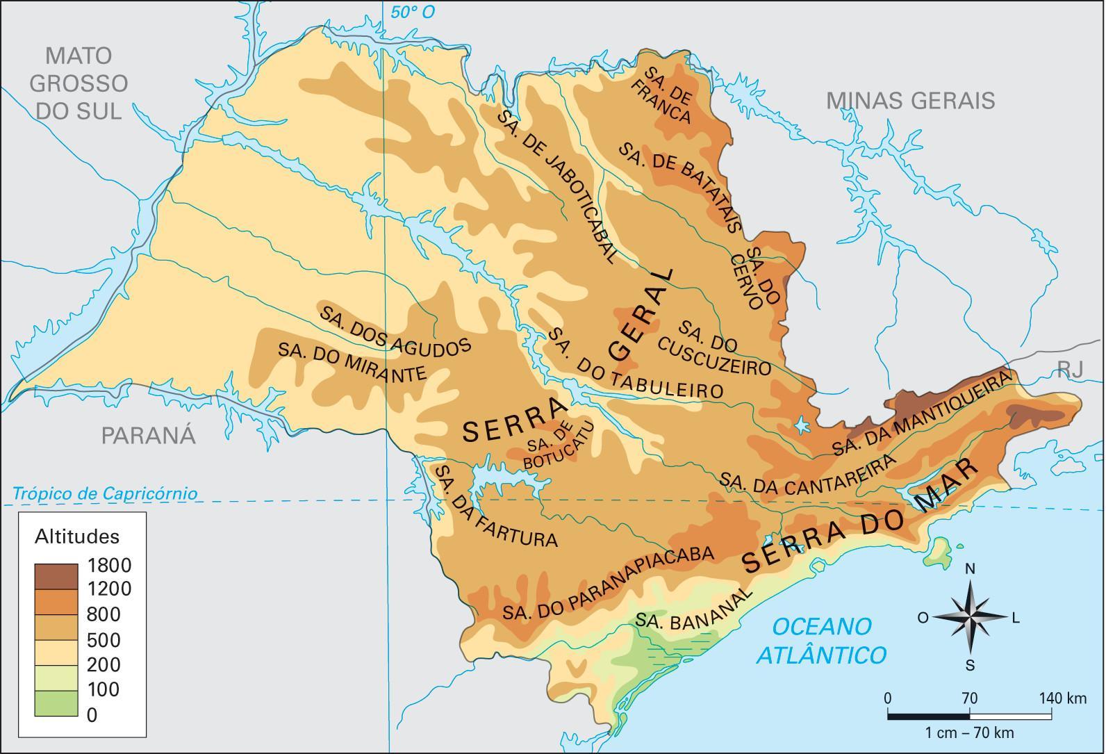 geografisk kart Geografisk São Paulo kart   Kart over geografiske São Paulo (Brasil) geografisk kart