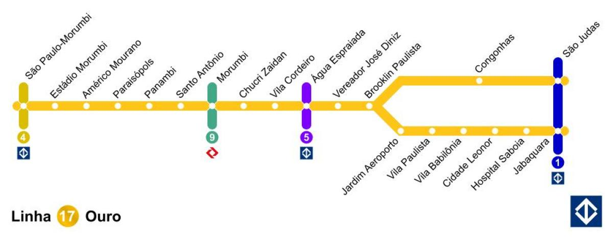 gull kart São Paulo monorail   Linje 17   Gull kart   Kart over São Paulo  gull kart