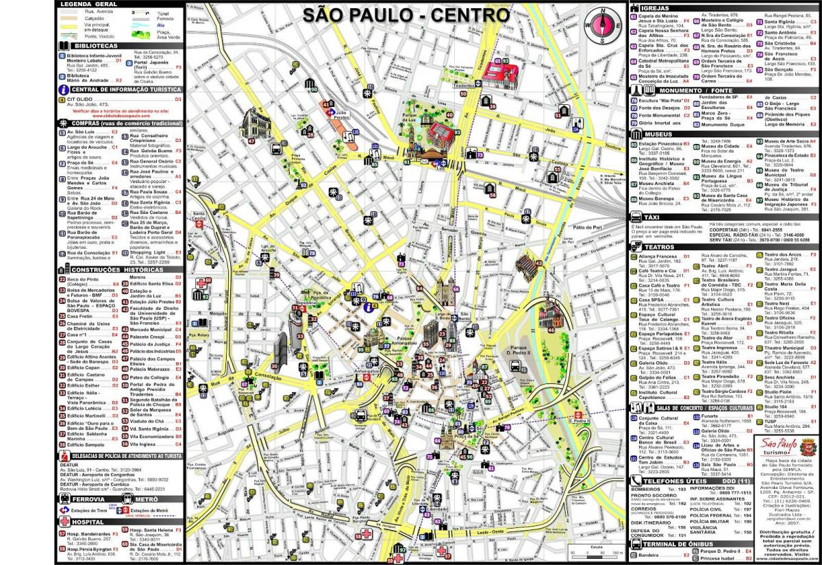 kart over paris sentrum Sentrum av São Paulo kart   Kart over sentrum av São Paulo (Brasil) kart over paris sentrum